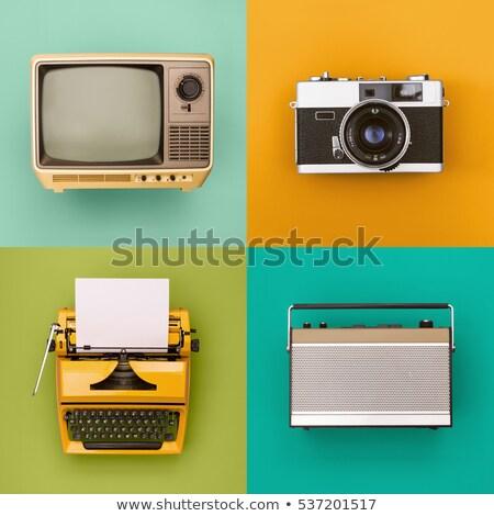 velho · escolas · máquina · de · escrever · teclado · cromo - foto stock © 3mc
