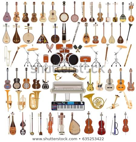 Роге музыкальный инструмент рисованной вектора эскиз иллюстрация Сток-фото © perysty
