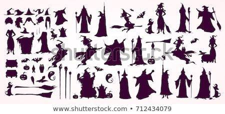 Silhouette of witch making potion Stock photo © carbouval