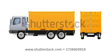 Vector illustration of yellow truck. Lorry with cargo container. Stock photo © leonido