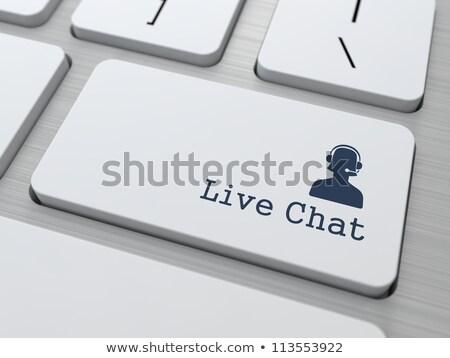 Live ondersteuning witte toetsenbord knop jongen Stockfoto © tashatuvango