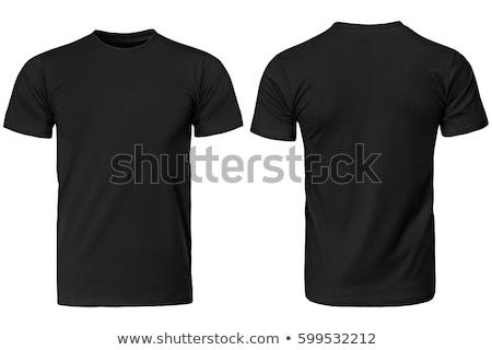 homme · noir · tshirt · mince · posant - photo stock © dolgachov