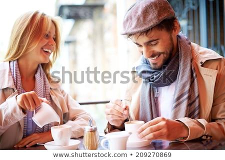 vrouwen · koffiepauze · voedsel · stad · glimlachend · vergadering - stockfoto © andreypopov