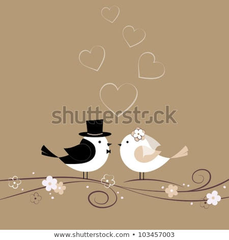 love birds with heart swirl vector stock photo © beaubelle
