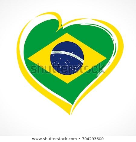 Brazil flag love heart Stock photo © Krisdog