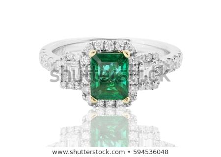 beautiful ring with green gem isolated on white Stock photo © tetkoren
