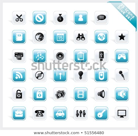blue set of 35 shiny icons on square button stock photo © lota
