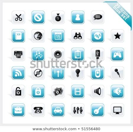 Bleu brillant icônes carré bouton Photo stock © Lota