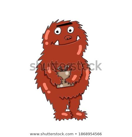 Amavelmente marrom monstro desenho animado engraçado mão Foto stock © Genestro
