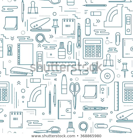 Set of seamless patterns of office stationery icons stock photo © elenapro