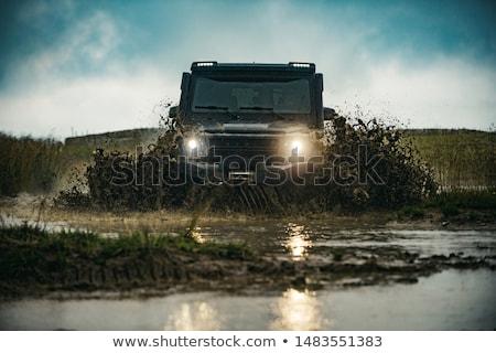 未舗装の道路 · を実行して · 茂み · 土地 · 道路 · 青 - ストックフォト © grafvision