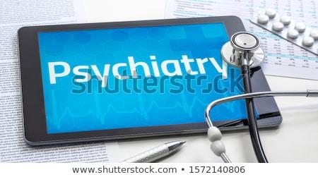 psiquiatria · paciente · peixe · olho · tiro · insano - foto stock © zerbor