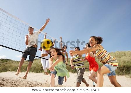 Foto stock: Grupo · adolescente · amigos · jogar · voleibol · praia