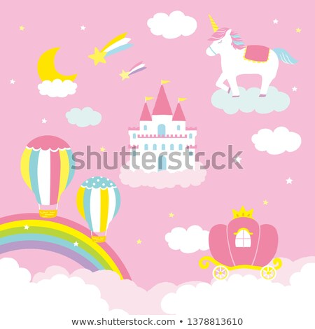 Fairy Tale pink magic castle and rainbow  Stock photo © carodi