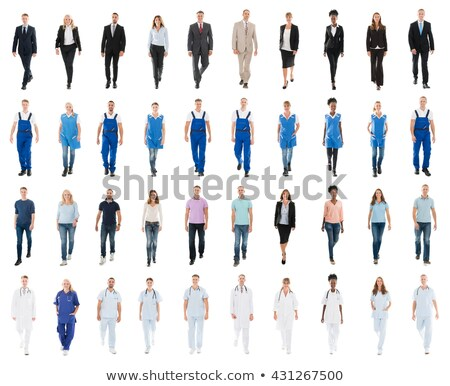 smiling engineer against white background stock photo © stockyimages