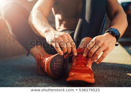 Loopschoenen mannen sport sport achtergrond veld Stockfoto © OleksandrO