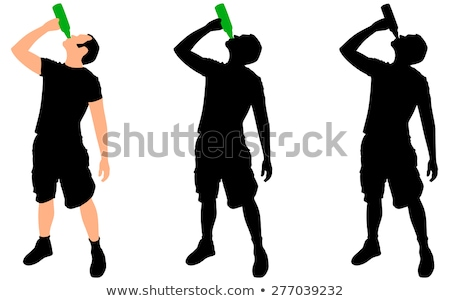 man with a bottle, drinking silhouettes  stock photo © Slobelix