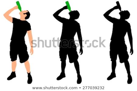 man · fles · drinken · silhouetten · water · meisje - stockfoto © Slobelix