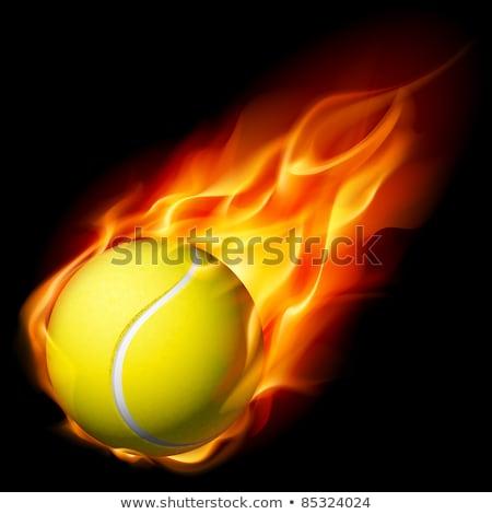 Tennis Ball on Fire Illustration Stock photo © enterlinedesign