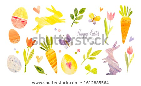 sketch easter eggs and bunnyset in vintage style stock photo © kali