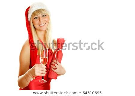 Foto stock: Champanhe · garrafa · óculos · isolado · branco
