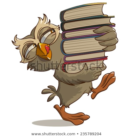 satisfied owl carries books stock photo © orensila