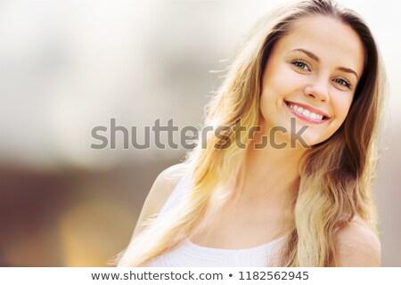 boldog · vicces · néz · fiatal · nő · hív · valaki - stock fotó © dave_pot