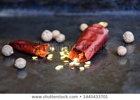 Een peul bitter Rood peper houten Stockfoto © OleksandrO