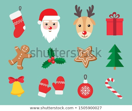 Christmas Red Present Sock with Stars Flat Icon Stock photo © Anna_leni