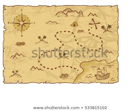 Pirata mappa del tesoro mappa bussola nero colore Foto d'archivio © carbouval