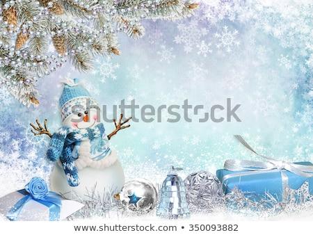クリスマス 雪だるま 国境 青 画像 ストックフォト © Irisangel