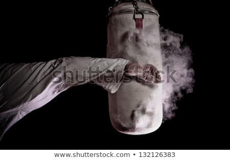 Karate rúgás homokzsák férfi fehér kimonó Stock fotó © master1305