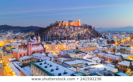 зима · закат · город · дома · здании · солнце - Сток-фото © kasto