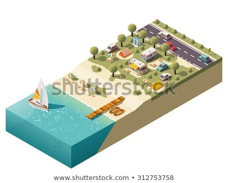 изометрический · кемпинга · пляж · семьи · автомобилей · трава - Сток-фото © teerawit
