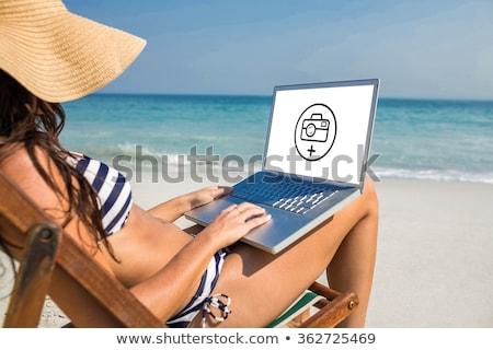 Pretty brunette using laptop on deck chair Stock photo © wavebreak_media