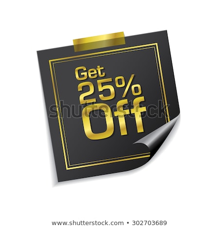25 procent gouden sticky notes vector icon Stockfoto © rizwanali3d