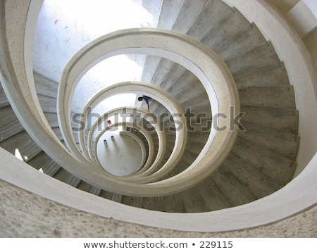 Foto d'archivio: Spiral Staircase In A Pagoda At Chinese Garden