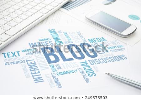 Blogging słowo klawiatury biały technologii internetowych Zdjęcia stock © fuzzbones0