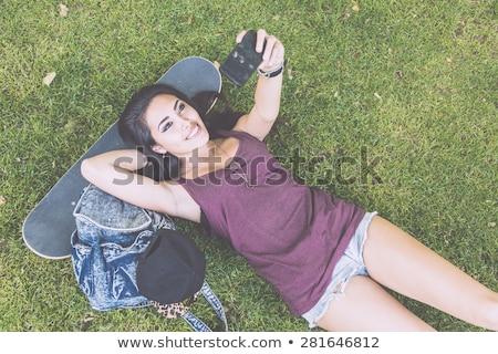 Stockfoto: Filipina · paars · mooie · slank · vrouw · jurk