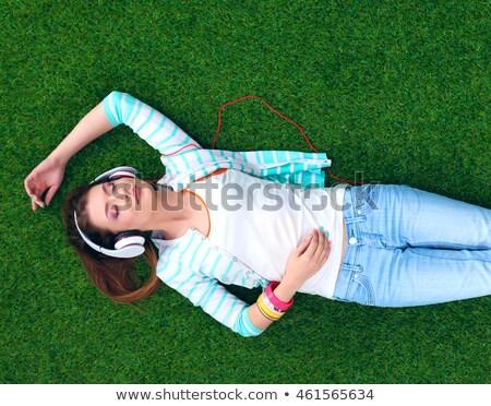 słuchawki · muzyki · chłopca · słuchania · twarz · oczy - zdjęcia stock © paha_l