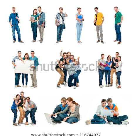 girls with card with man, collage Stock photo © Paha_L