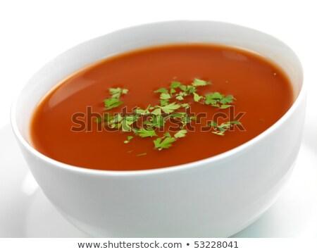 Paradicsomleves izolált fehér étterem vacsora piros Stock fotó © shutswis