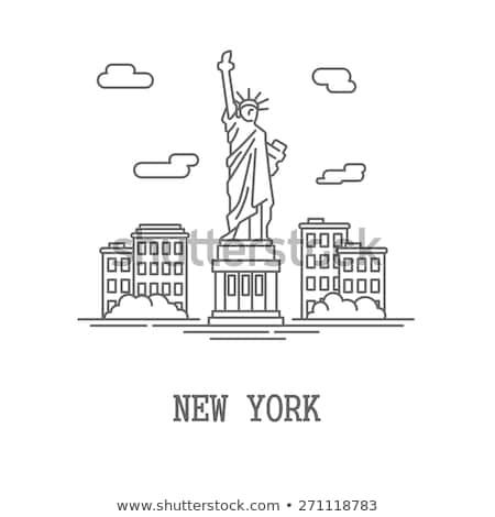 статуя свободы линия икона веб мобильных Сток-фото © RAStudio