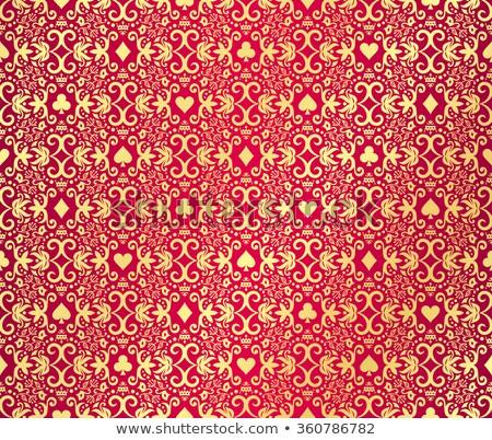 красный бесшовный покер дамаст шаблон Сток-фото © liliwhite