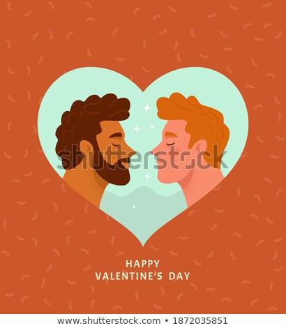 Közelkép férfi homoszexuális pár piros szív Stock fotó © dolgachov
