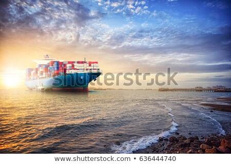 Navire coucher du soleil paysage ciel soleil Photo stock © OleksandrO