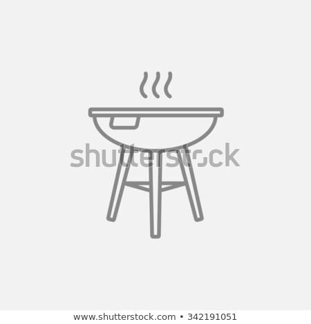 Bouilloire barbecue ligne icône web mobiles Photo stock © RAStudio