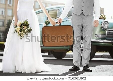 Kadın gelinlik bavul düğün mutlu güzellik Stok fotoğraf © Elnur