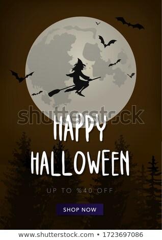 Retro halloween örnek beyaz ağaç arka plan Stok fotoğraf © get4net