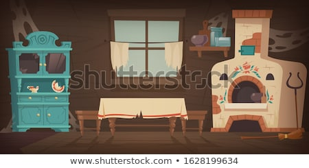 Szegény lakásügy konyha ház elnyűtt fából készült Stock fotó © Klinker